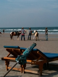 horse riding along the beach...